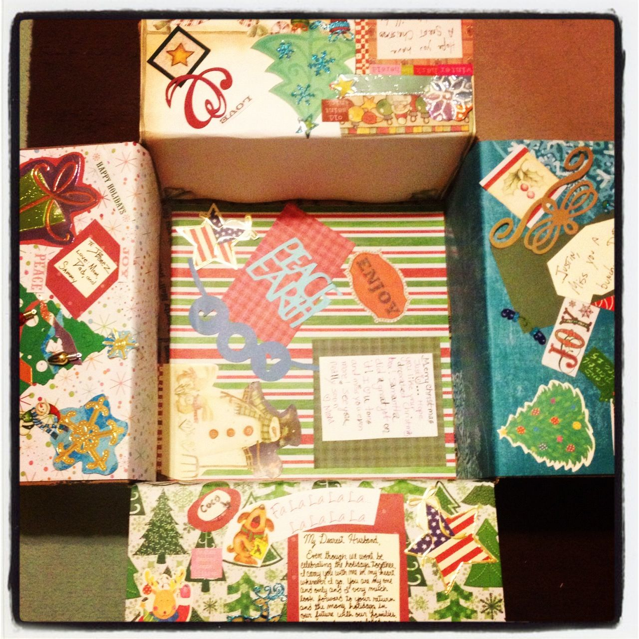 Ideas To Decorate A Box Christmas Deployment Care Package Decorated Box For Husband  Diy