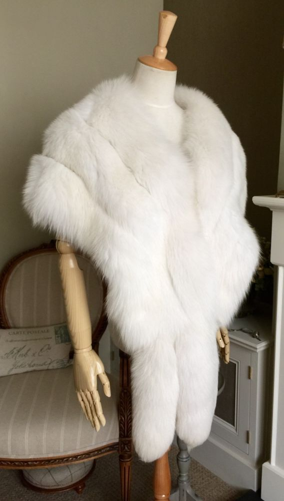 White Fur Stole >> Mint Vintage 80 Huge Arctic Snow White Fox Fur Stole Wrap Bolero