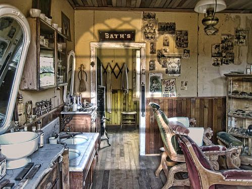 Old west victorian barber shop interior montana territory poster by daniel hagerman