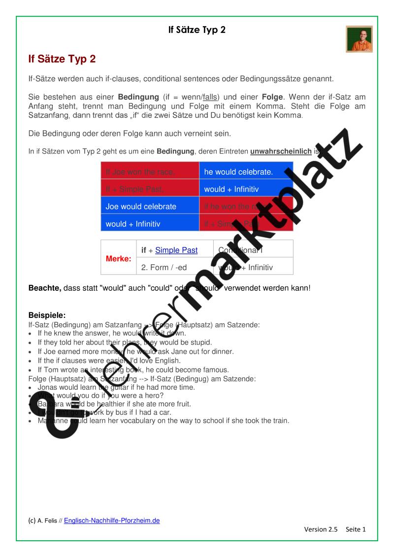 if-Sätze / if-clauses Typ 2 - Arbeitsblätter mit Lösungen - PDF und ...