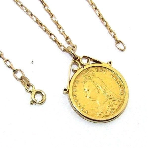 c096ee5c2782a Details about Unisex, 22ct gold 1887 Victoria Jubilee half sovereign ...