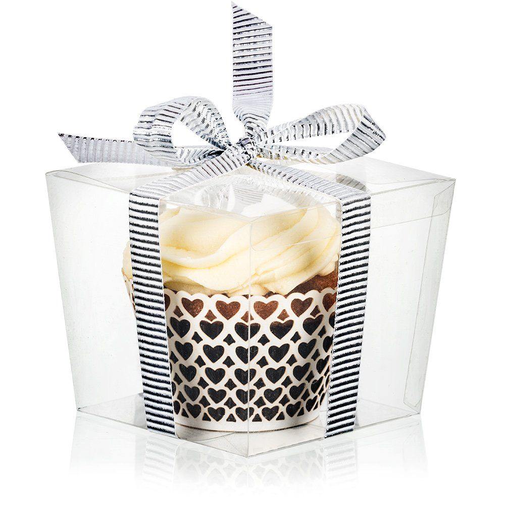 25 Clear Boxes for Cupcake or Mini Gift | Display with Single ...