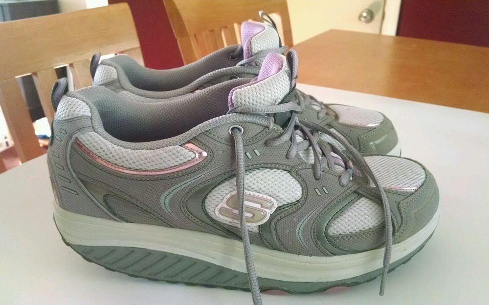 Skechers Shape ups 11806 Grey Pink Fitness Rocker Walking Shoes Women's Size 8