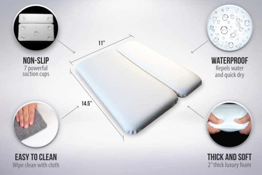 GORILLA GRIP Original Spa Bath Pillow Features Powerful Gripping Technology C..