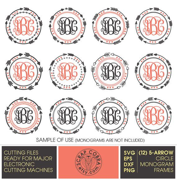 12 tribal 5 arrow circle monogram frames svg eps by scrapcobra - Monogrammed Picture Frames