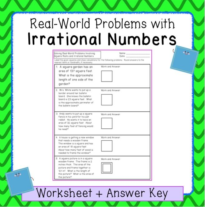 This Worksheet Has Five Word Problems In Which Students Are Asked To Estimate The Length Of A Side When Giv Irrational Numbers Teaching Math High School Math Rational and irrational worksheets