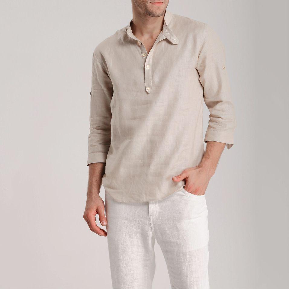 2017 otoño nuevo estilo de lino camisas cuello mao manga