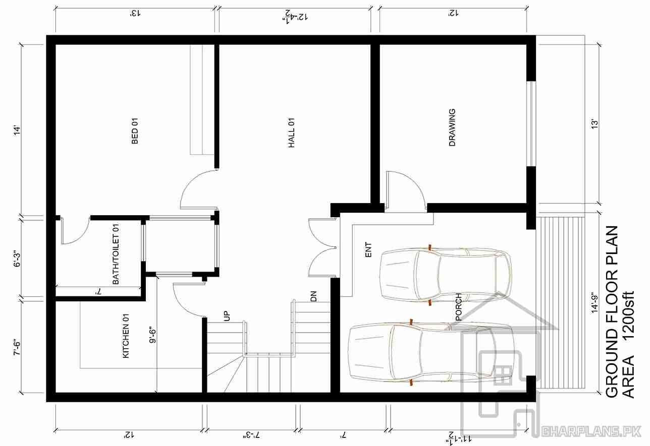 The front of this 5 Marla house plan is 30 ft whereas the depth of ...
