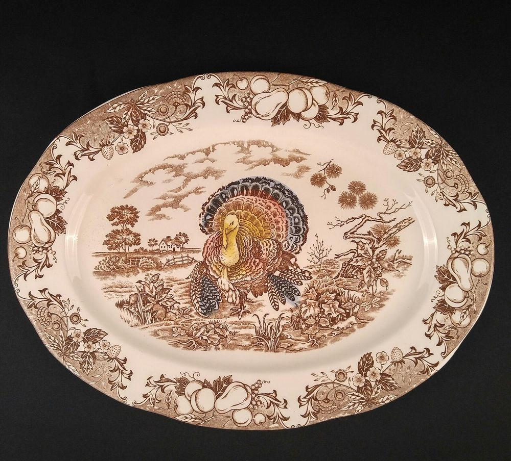 Wild Turkey Platter Large Serving Dish Farm Fruit Vintage