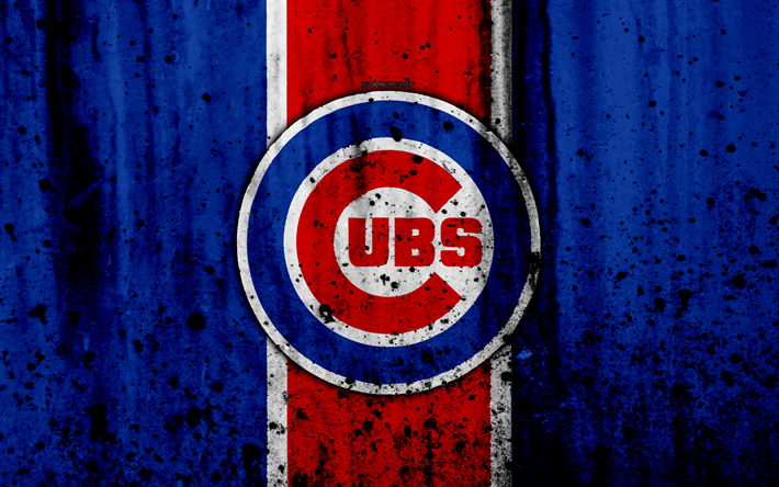 Download wallpapers 4k, Chicago Cubs, grunge, baseball