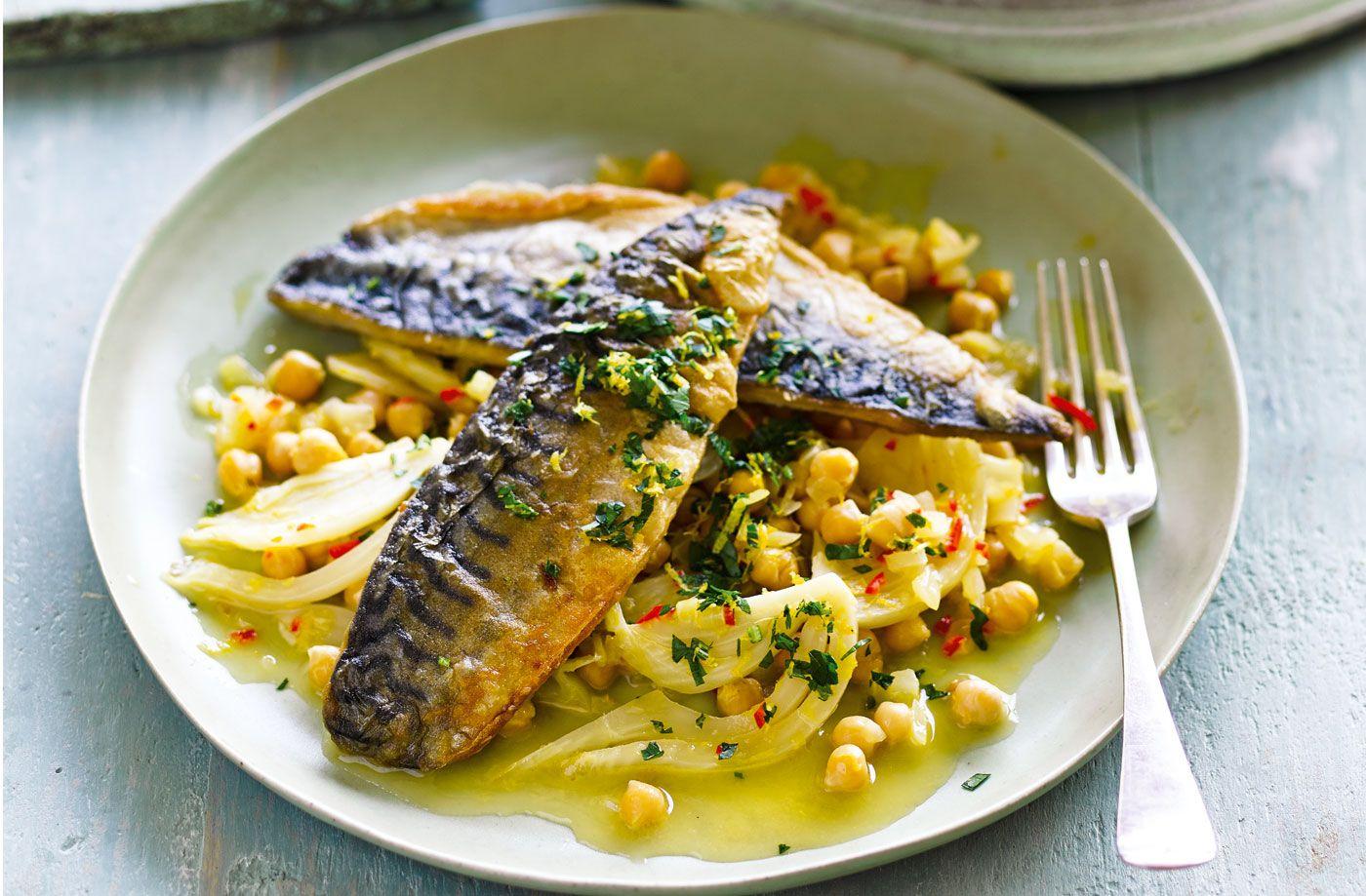 Mackerel with citrus chickpeas mackerel recipes tesco