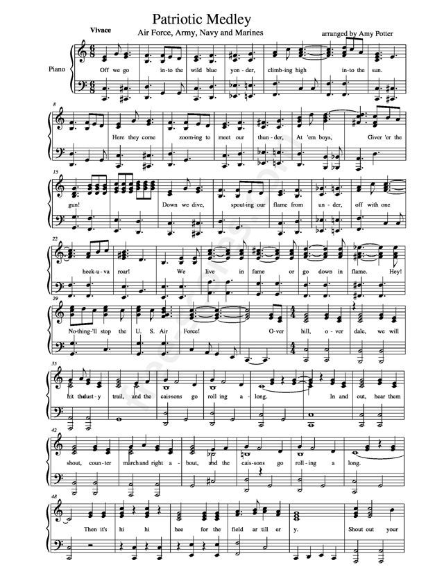 Free sheet music : Anonymous - Air Force, Army, Navy and Marines ...