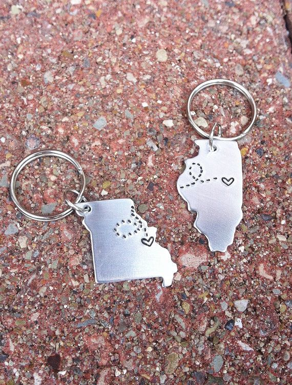 CUSTOM Long Distance Love KEYCHAINS - Set of TWO State Maps with Love Trails on Etsy, $26.00