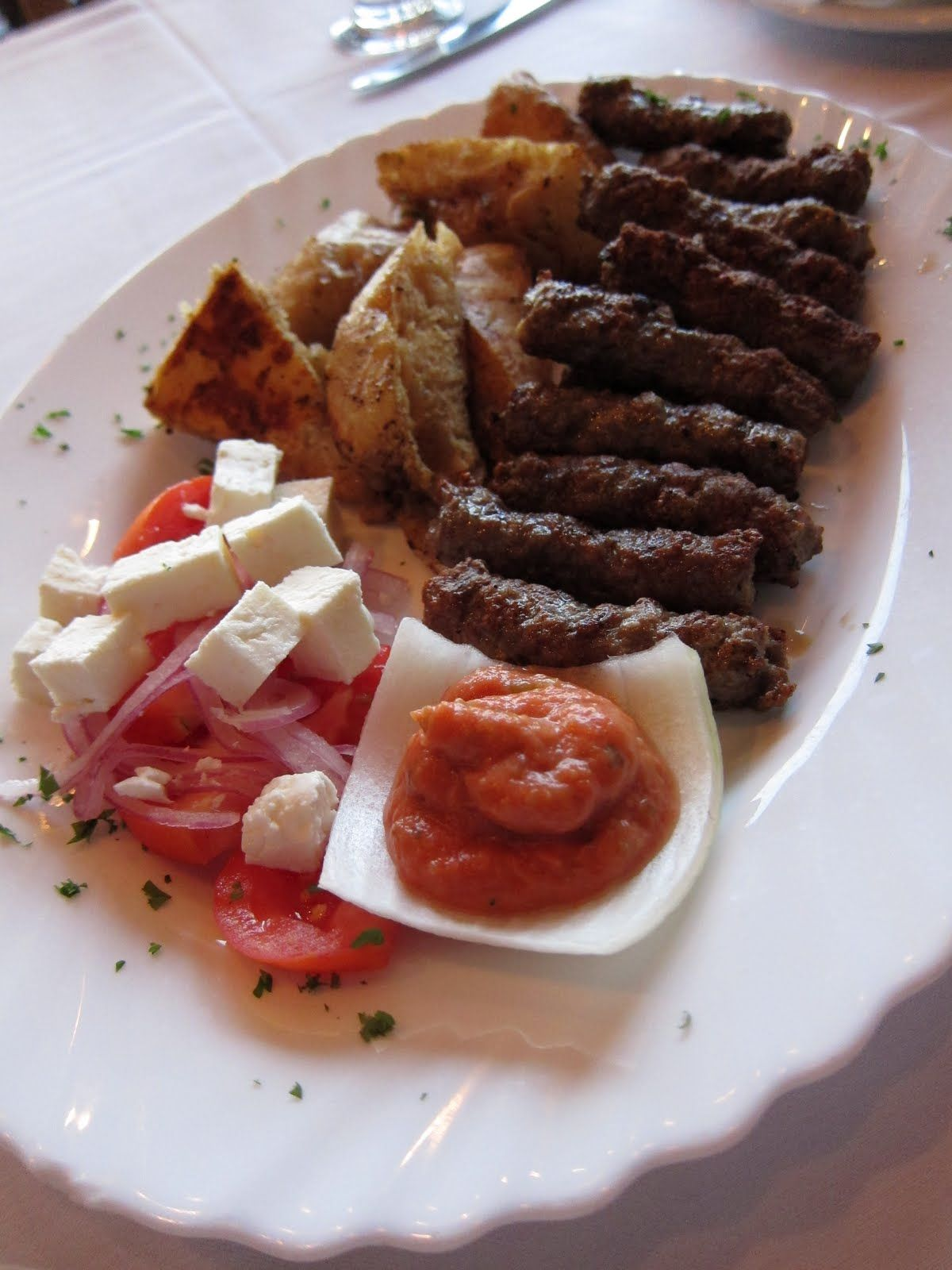 Cevapi Traditional Balkan Style Grilled Beef Sausages Served With Fluffy Lepinja Bread
