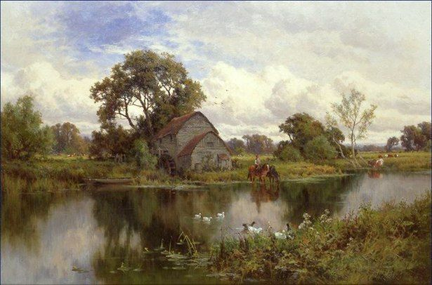 Famous English Painters Landscape Painting By Henry H Parker Countryside Paintings Landscape Paintings Painting