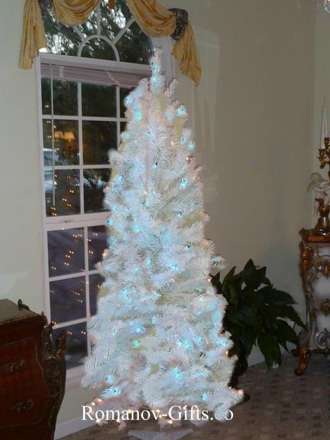 White Slim Pre Lit Ice Blue Lights Christmas Tree 7 Ft High Mid