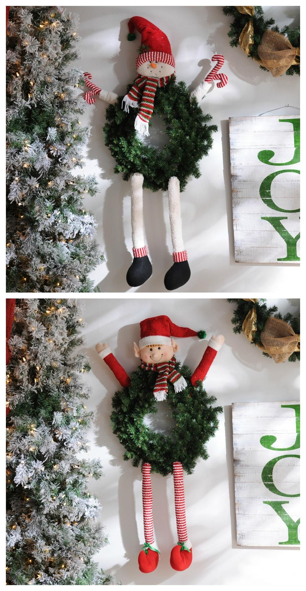 Have some fun with your Christmas wreath by adding a Snowman or Elf ...