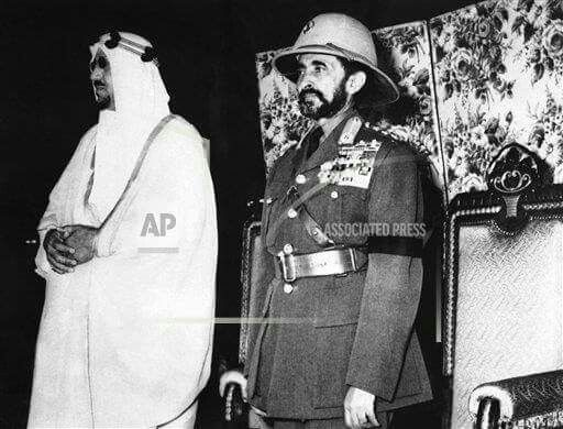 Emperor Haile Selassie & King Saud of Saudi Arabia at Addis Ababa Airport in July 1957  (1949 E.C)