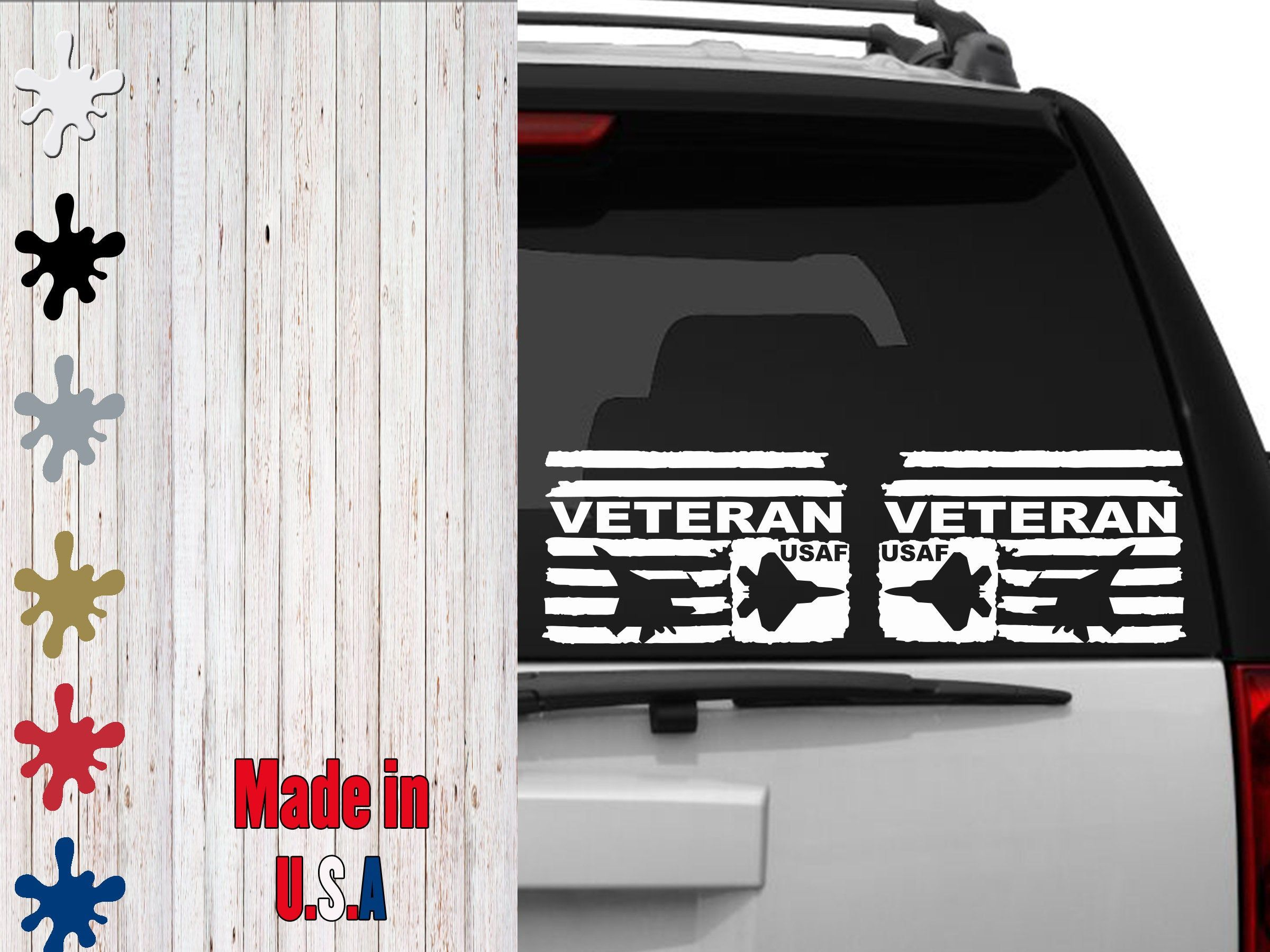 Air Force Veteran Distressed Subdued Flags Car Decal