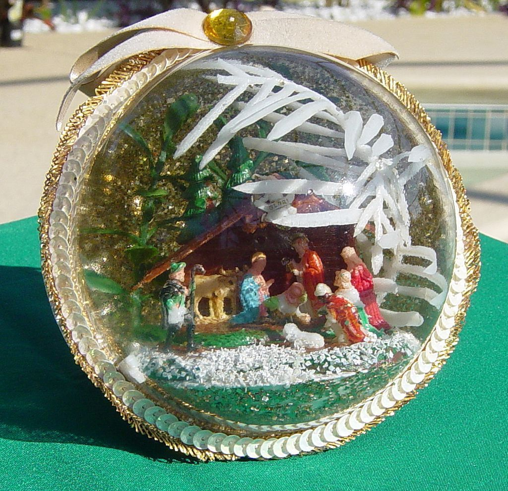 Vintage Handcrafted Globe Christmas Ornament With Vintage Manger Scene from grandmothers-trunk-rp on Ruby Plaza