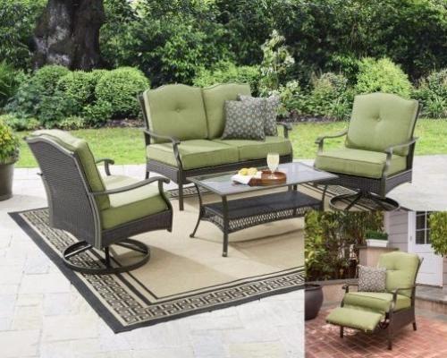 Cushioned 5-Piece Patio Conversation Set Seats Outdoor Garden Furniture Green  #Cushioned5PiecePatio