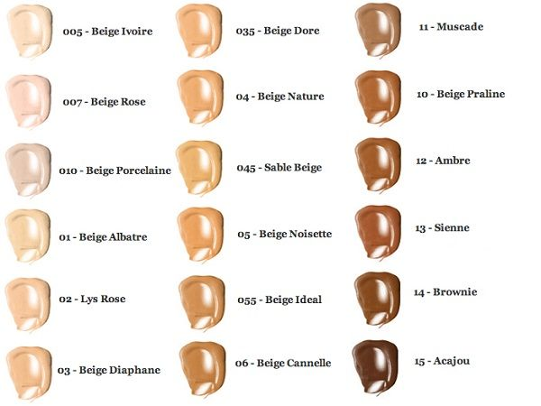 Lancome Teint Idole Ultra Wear 24H Foundation color chart swatches