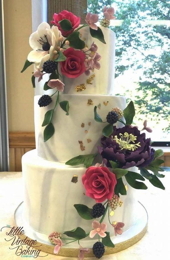 Marble Sugar Flower Cake Cake by Ashley Barbey DelightfulFun