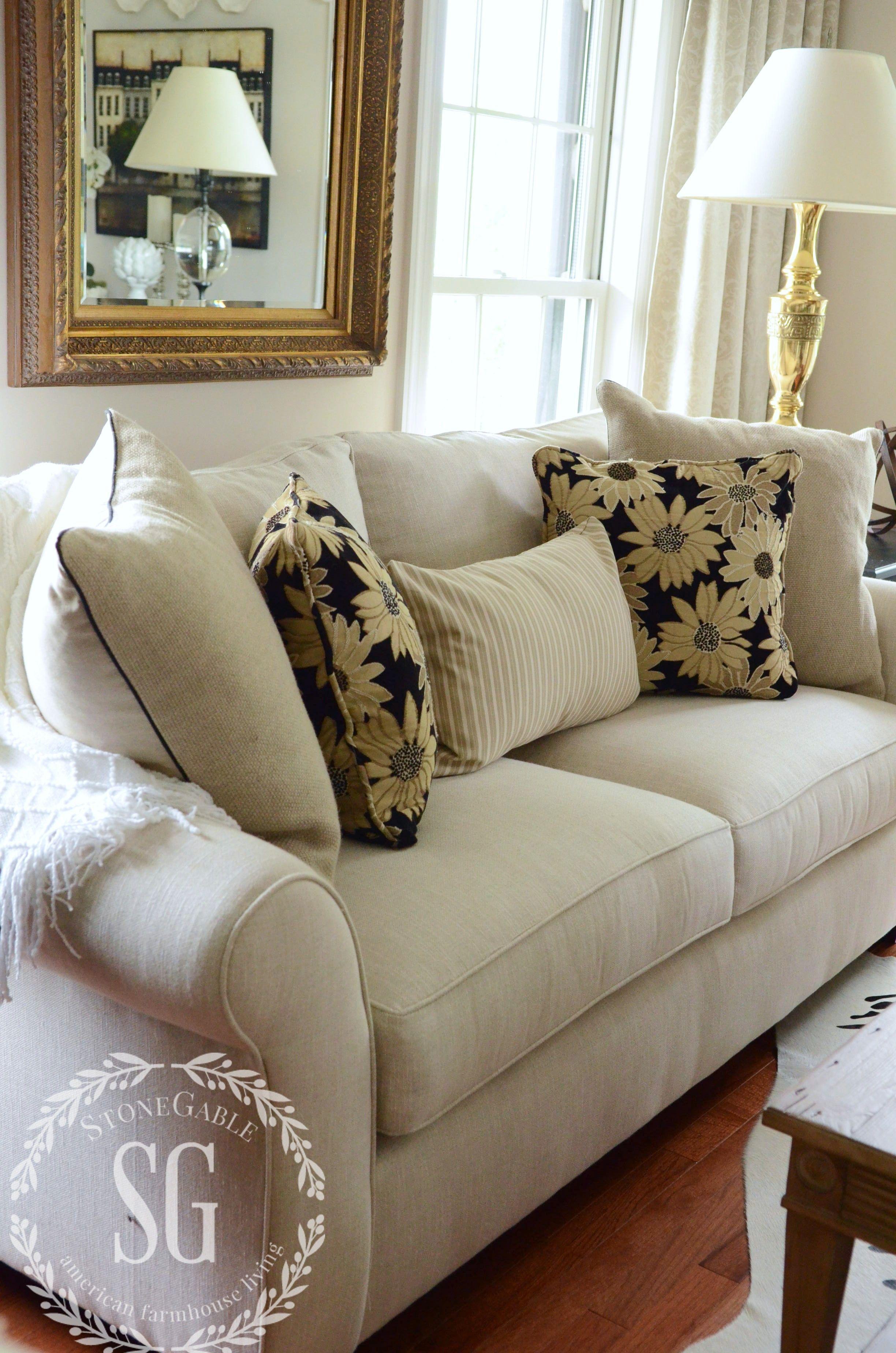 5 No Fail Tips For Arranging Pillows Stonegable Perfect Pillow Pillows Living Room Designs #pillows #for #living #room #sofa