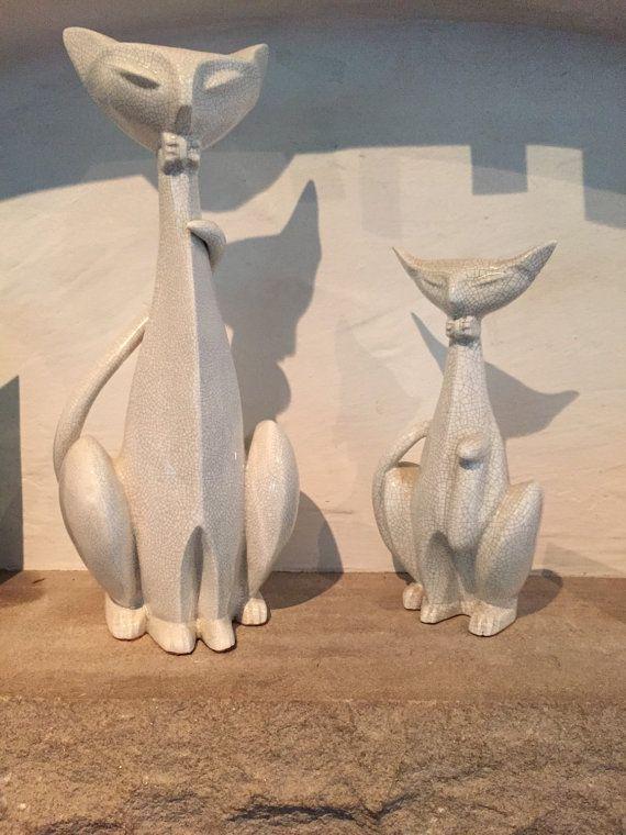 Mid-Century Ceramic Cats mint pristine by VintageMelissaBollen