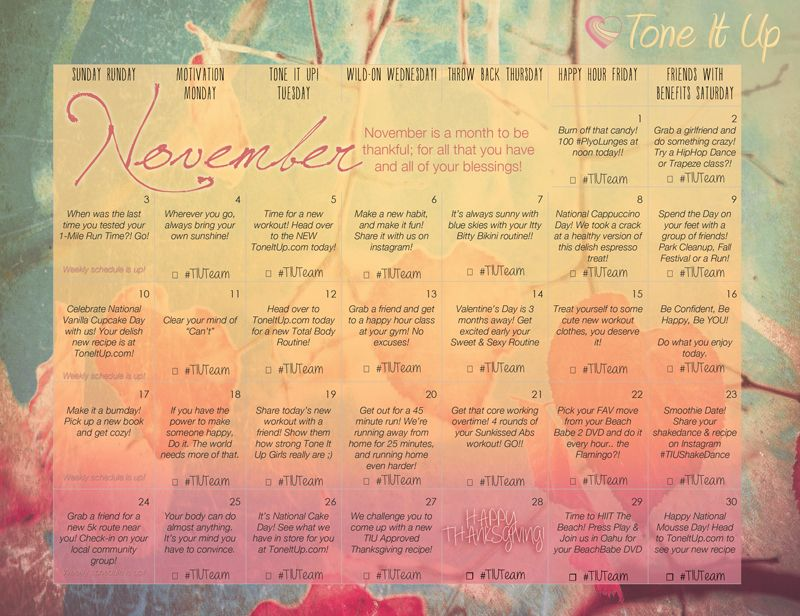It\u0027s your Tone It Up Workout calendar for December! ToneItUp