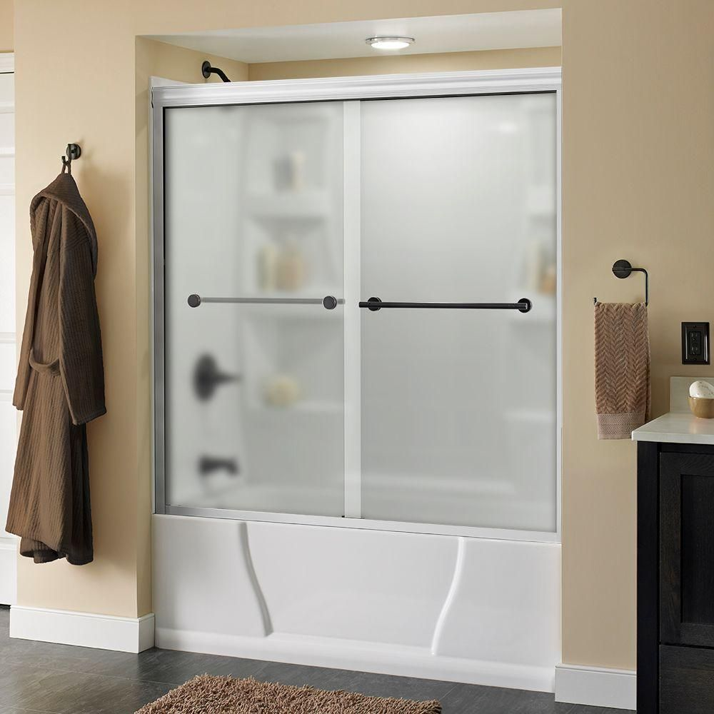 Delta Lyndall 60 in. x 58-1/8 in. Semi-Frameless Sliding Bathtub Door in White with