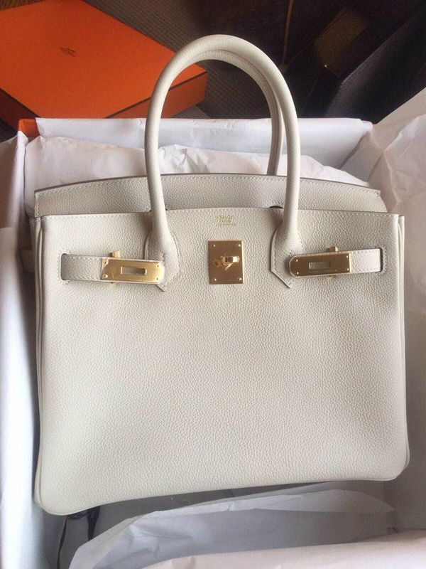 9f21d2e69ad HERMES birkin30 chalk white gold buckle togo spot - Taobao