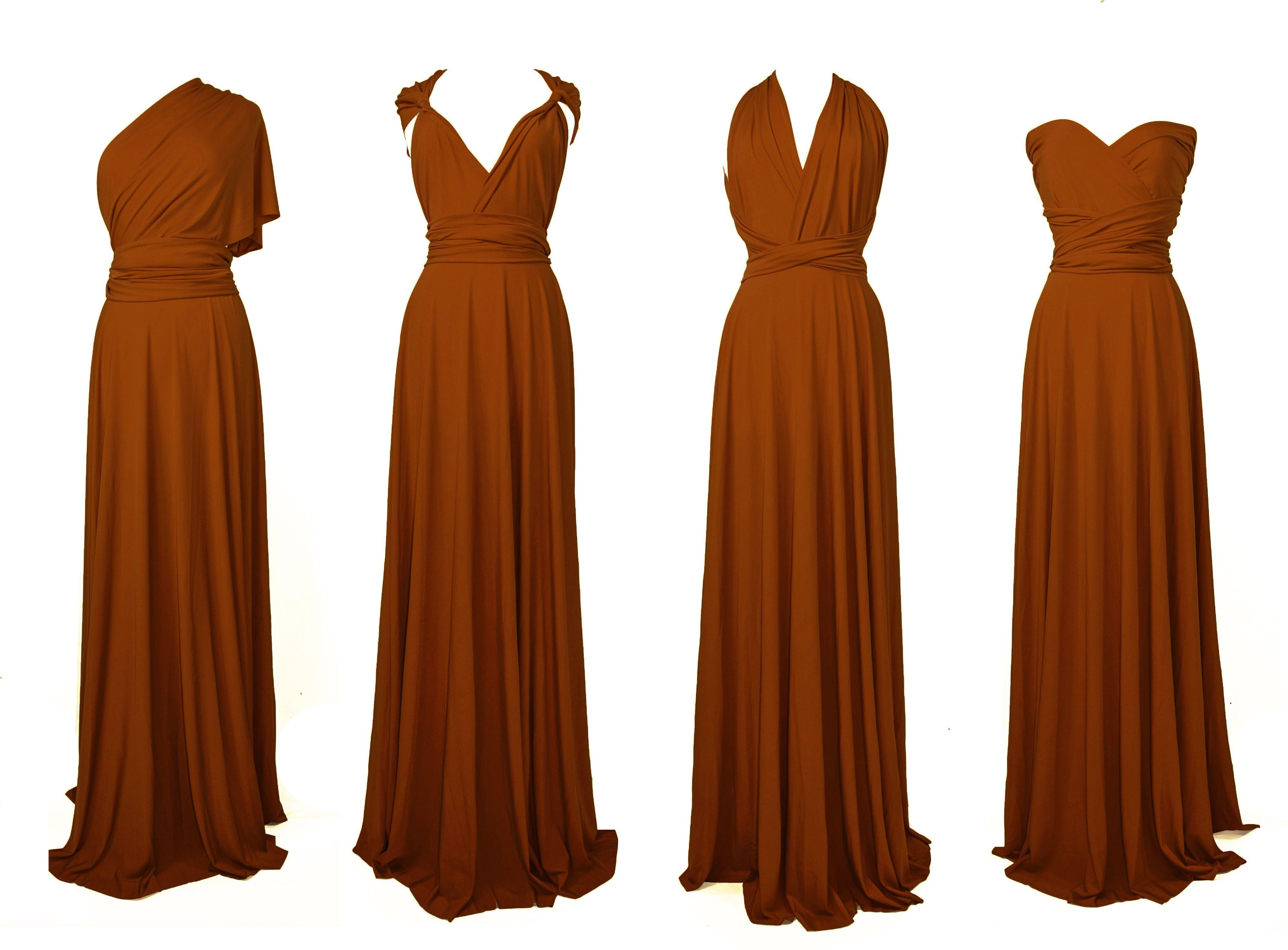 burnt orange infinity convertible wrap bridesmaid dress in