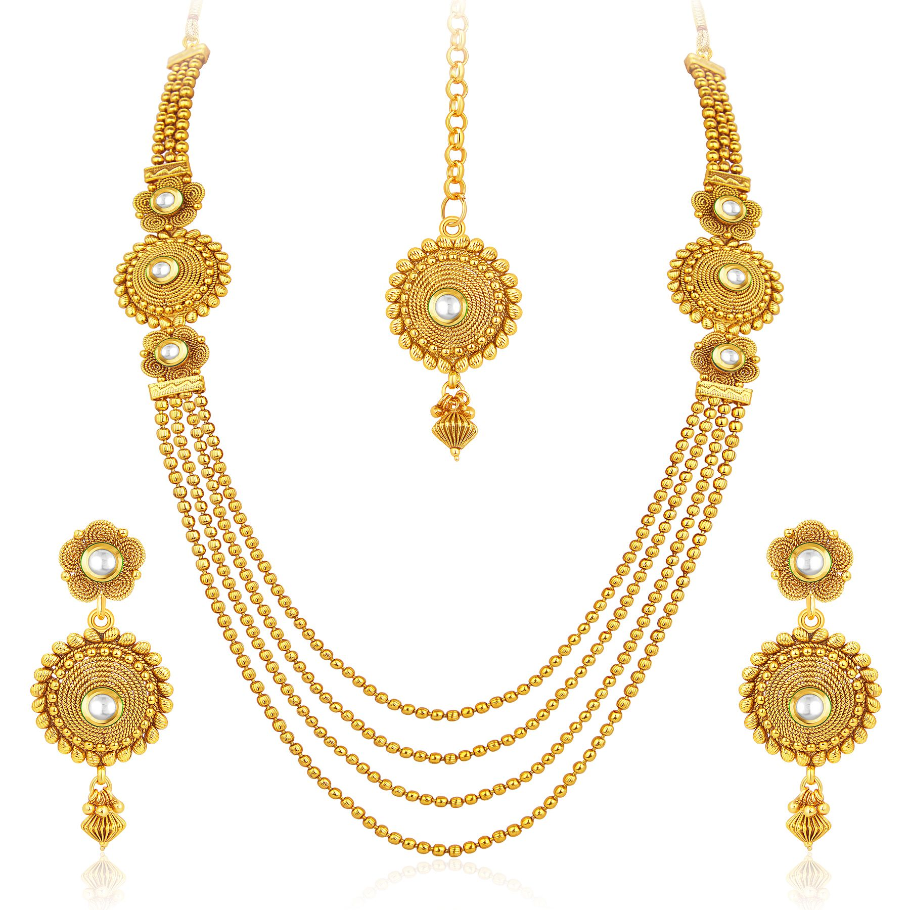 Pleasing four strings gold plated necklace set for women