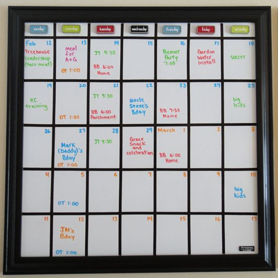 DIY Whiteboard Calendar...would be good for a fitness calendar ...