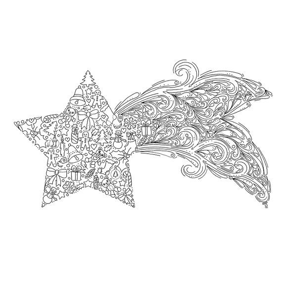 Christmas coloring page Christmas Star shooting star instant
