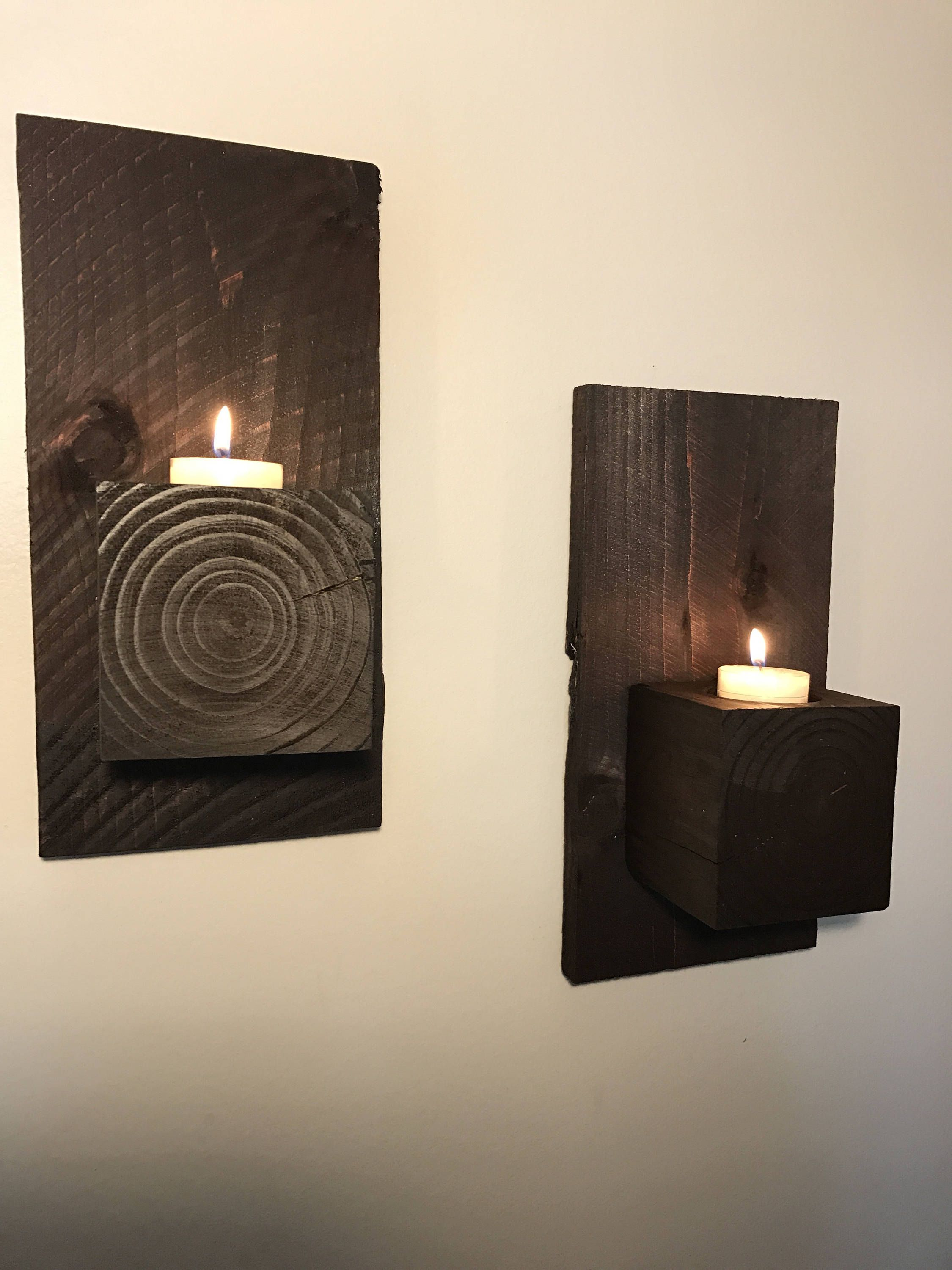Set Of 2 Wood Block Wall Sconce Rustic Home Decor Candle Holder