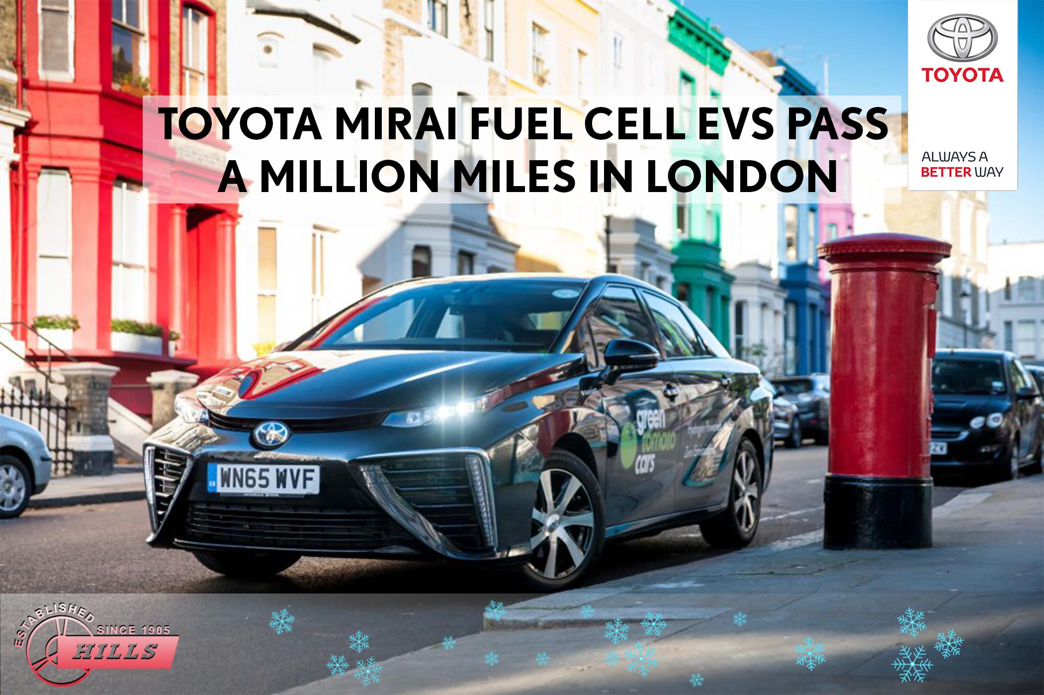 A fleet of 27 hydrogen fuel cell Toyota Mirai cars