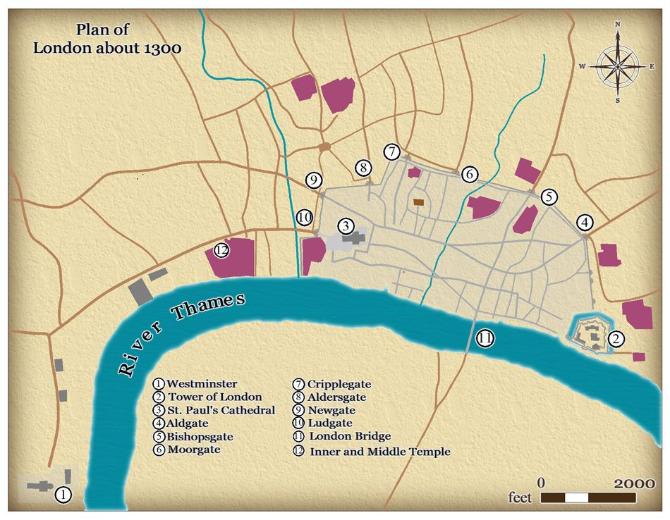 This map shows the size and layout of me val London in around 1300