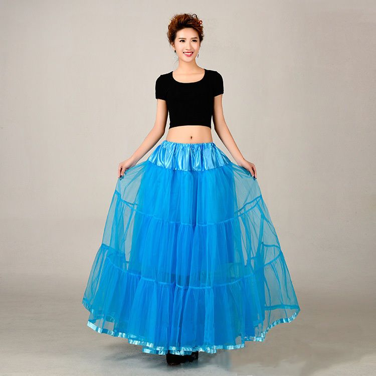 Blue Vintage Bridal Underskirt Wedding Crinoline Girls Petticoat Skirt Slip  #Petticoat