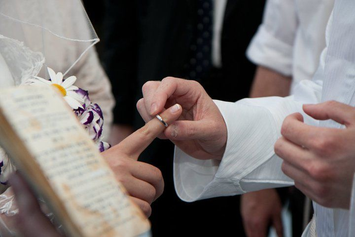 Ring Is Placed On The Right Hand Pointer Finger In A Traditional Jewish Wedding Gerusalemme