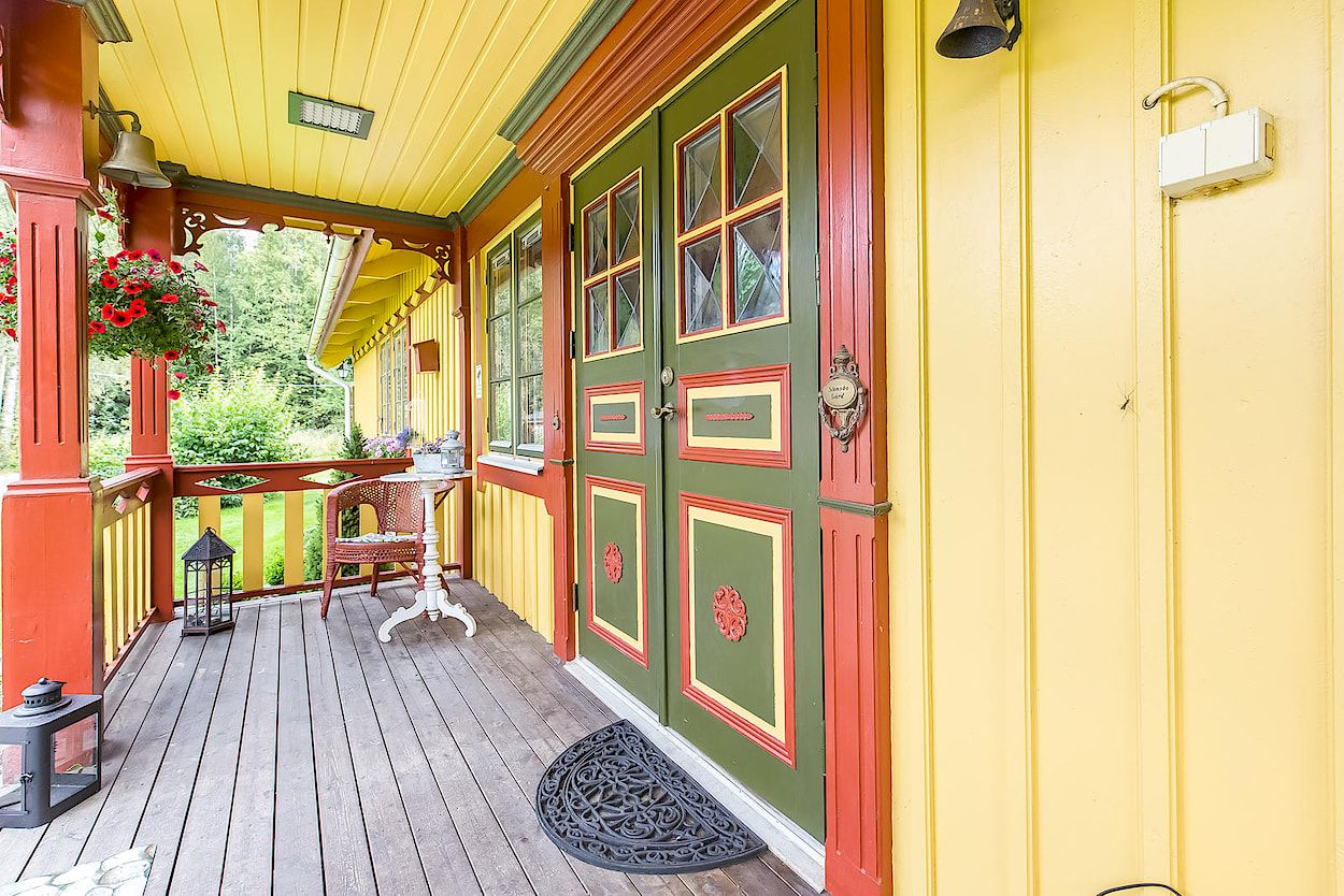Bold colors on this entrance door - love it!