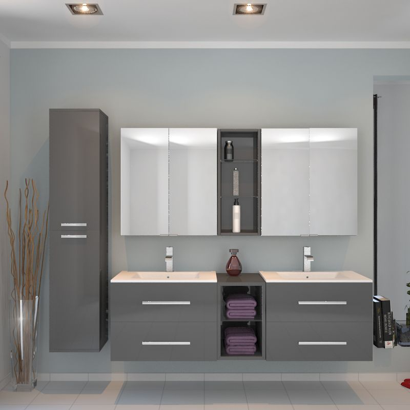 Sonix 1500 Wall Hung Double Basin Vanity Unit Grey Double Basin
