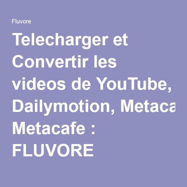 et convertir les videos de youtube dailymotion metacafe fluvore