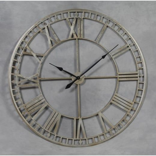 HH Extra Large Metal Skeleton Wall Clock Silver HH