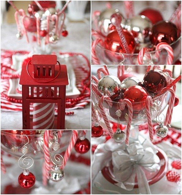 Fun Christmas Table Decorations: Unique Christmas Red White Colors Theme Party Candy Cane
