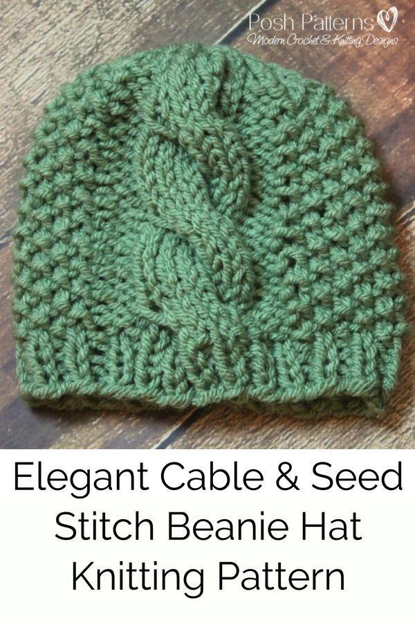 Knitting PATTERN - Eyelet Lace Knit Hat Pattern | Pinterest | Seed ...