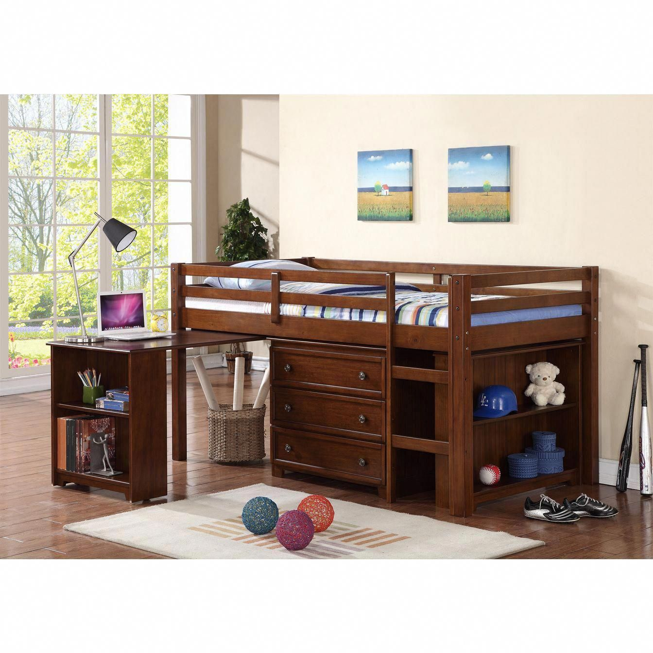 Furniture Wood Low Loft Bunk Bed For Kids With Trundle Desk And