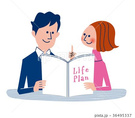 パンフレットを見ながら将来について話し合うカップルのイラスト素材no