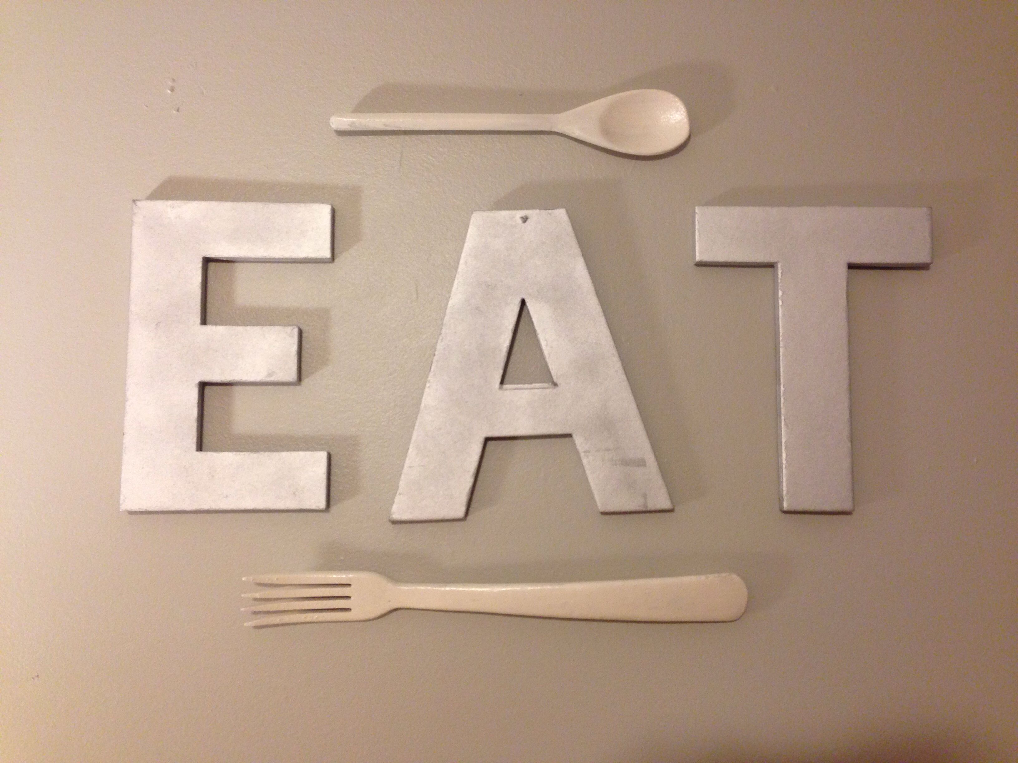 Karton Buchstaben Cardboard Letters Spray Painted And Painted Fork And Spoon